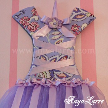 Lavender Floral Tutu Bow Holder
