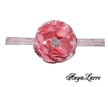 Shabby Chic Pink Rose Headband