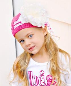 Sis Raspberry Crochet Peony Hat