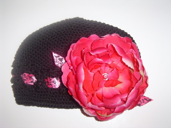 Black Crochet Ribbon Hat with Hot Pink Peony