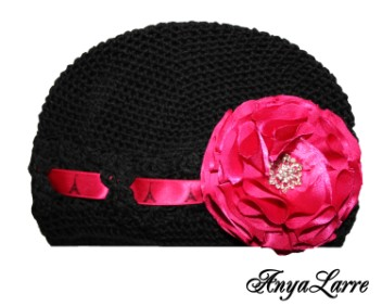 Shabby Chic Paris Rose Crochet Hat