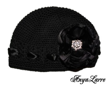 Shabby Chic Black Rose Crochet Hat