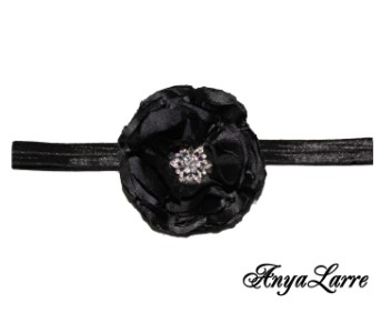 Shabby Chic Black Rose Headband