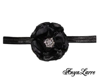 Shabby Chic Black Rose Headband