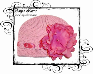 "Pink ""Find A Cure"" Crochet Ribbon Hat"
