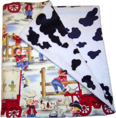 Vintage Cowboy Minky Blanket