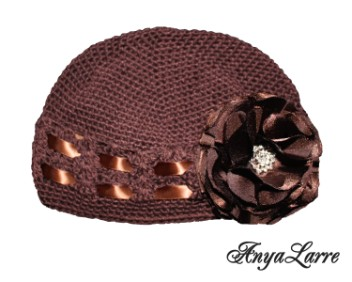 Shabby Chic Chocolate Rose Crochet Hat