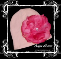 Cotton Candy Knit Beanie With Hot Pink Rose