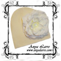Pale Yellow Knit Beanie With White Rose