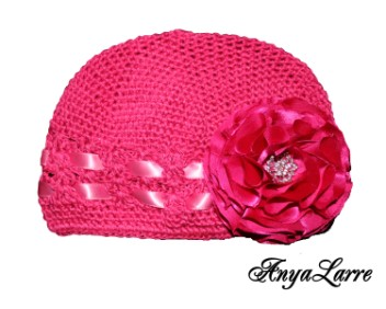 Shabby Chic Raspberry Rose Crochet Hat