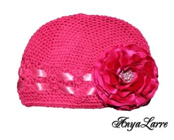 Shabby Chic Raspberry Rose Crochet Hat