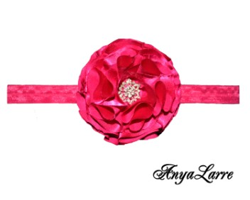 Shabby Chic Raspberry Silk Rose Headband