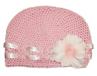 Pale Pink Crochet Flower Hat