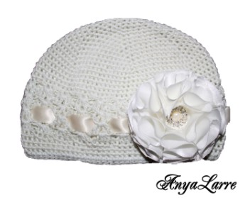 Shabby Chic Winter White Rose Crochet Hat