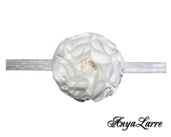 Shabby Chic White Silk Rose Headband