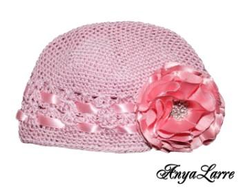 Shabby Chic Pink Rose Crochet Hat