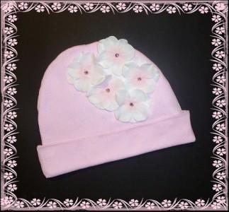 Pink Hydrangea Knit Beanie