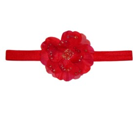 Red Beaded Flower Headband