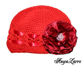 Shabby Chic Red Rose Crochet Hat