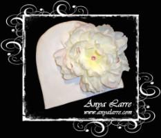 White Knit Peony Hat